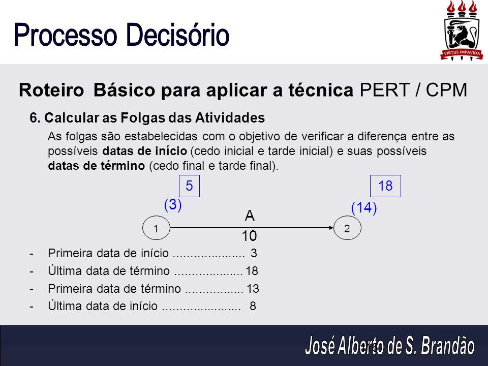 116 6. Calcular as Folgas das Atividades As folgas são estabelecidas com o objetivo de verificar a diferença entre as possíveis datas de início (cedo
