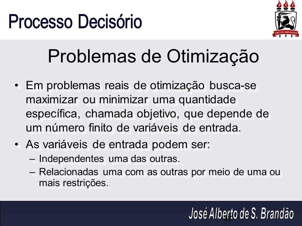 Problemas de Otimização Em problemas reais de otimização busca-se maximizar ou minimizar uma quantidade específica, chamada objetivo, que depende de u