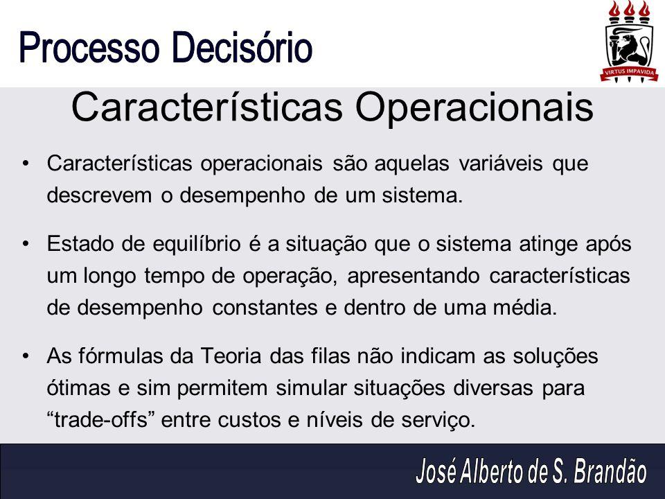 Características Operacionais Características operacionais são aquelas variáveis que descrevem o desempenho de um sistema. Estado de equilíbrio é a sit