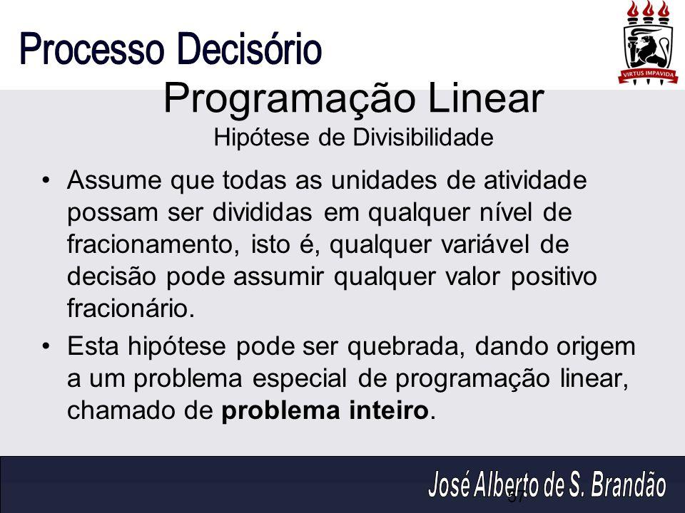Programação Linear Hipótese de Divisibilidade Assume que todas as unidades de atividade possam ser divididas em qualquer nível de fracionamento, isto