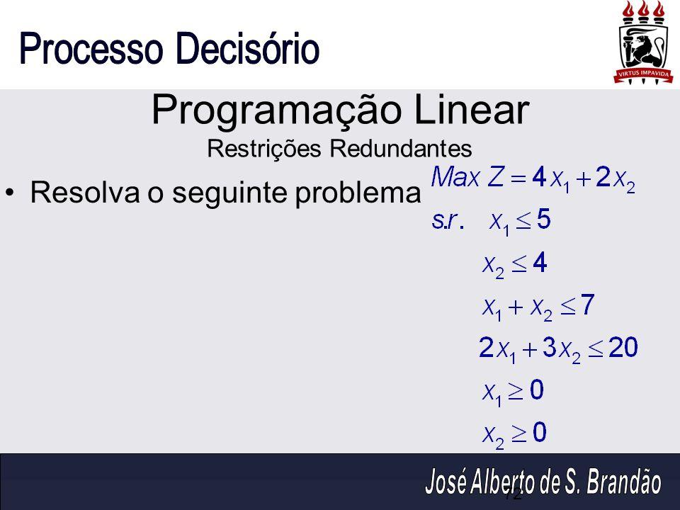 Programação Linear Restrições Redundantes Resolva o seguinte problema 72