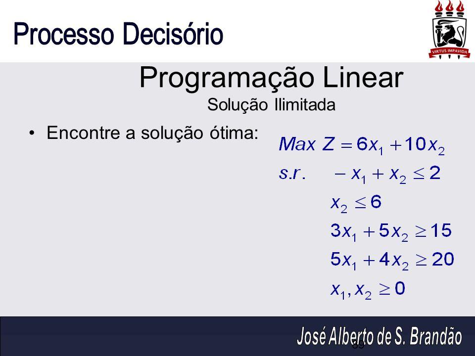 Encontre a solução ótima: Programação Linear Solução Ilimitada 89