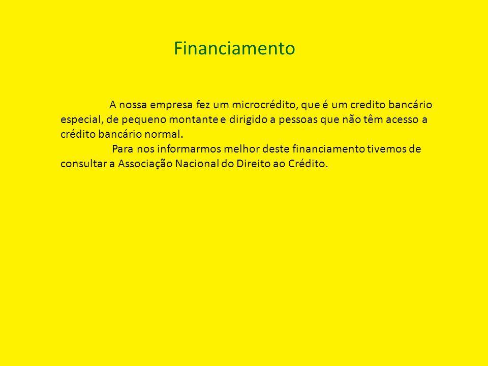 Financiamento A nossa empresa fez um microcrédito, que é um credito bancário especial, de pequeno montante e dirigido a pessoas que não têm acesso a c