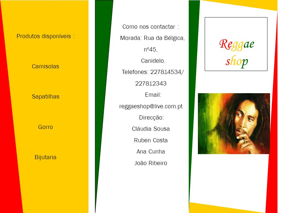 Produtos disponíveis : Camisolas Sapatilhas Gorro Bijutaria Como nos contactar : Morada: Rua da Bélgica, nº45, Canidelo. Telefones: 227814534/ 2278123