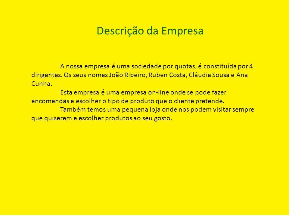 Descrição da Empresa A nossa empresa é uma sociedade por quotas, é constituída por 4 dirigentes. Os seus nomes João Ribeiro, Ruben Costa, Cláudia Sous