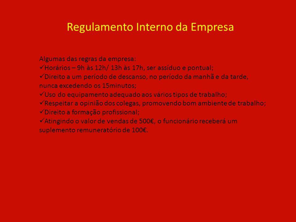 Regulamento Interno da Empresa Algumas das regras da empresa: Horários – 9h às 12h/ 13h às 17h, ser assíduo e pontual; Direito a um período de descans