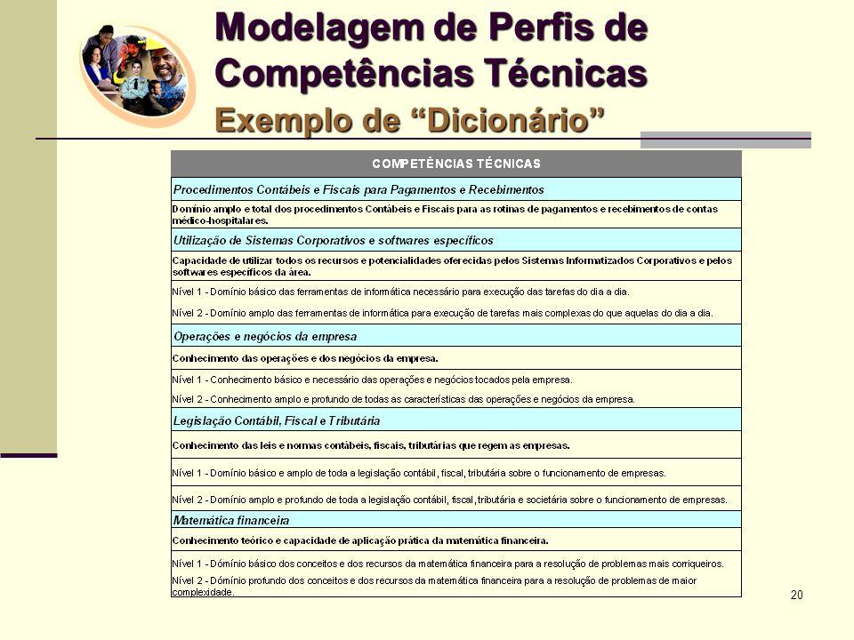 20 Modelagem de Perfis de Competências Técnicas Exemplo de Dicionário