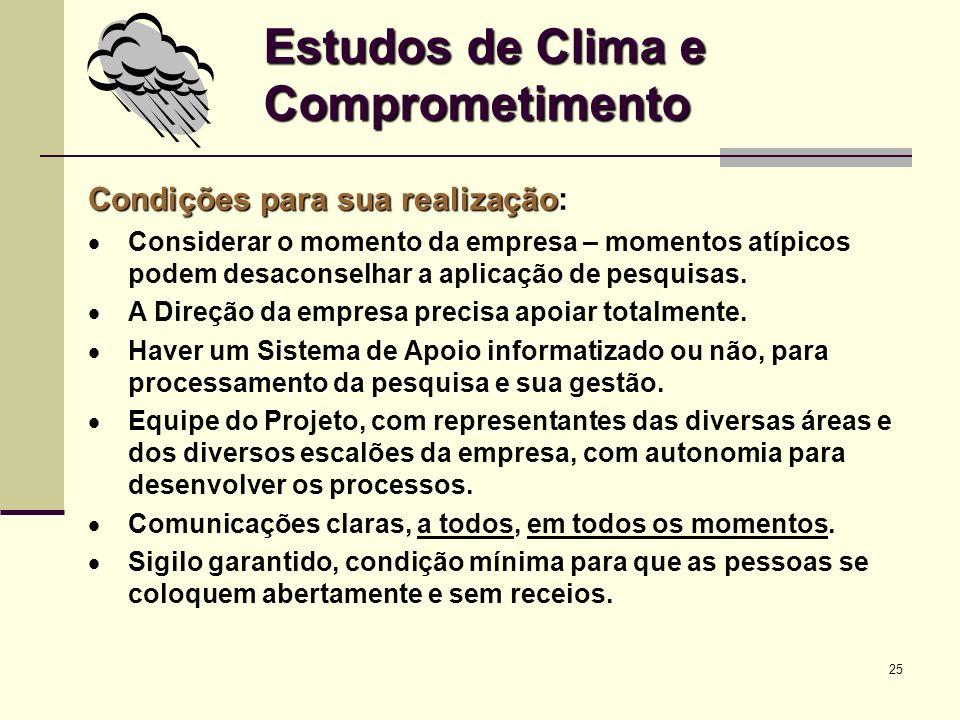 25 Estudos de Clima e Comprometimento Condições para sua realização Condições para sua realização: Considerar o momento da empresa – momentos atípicos