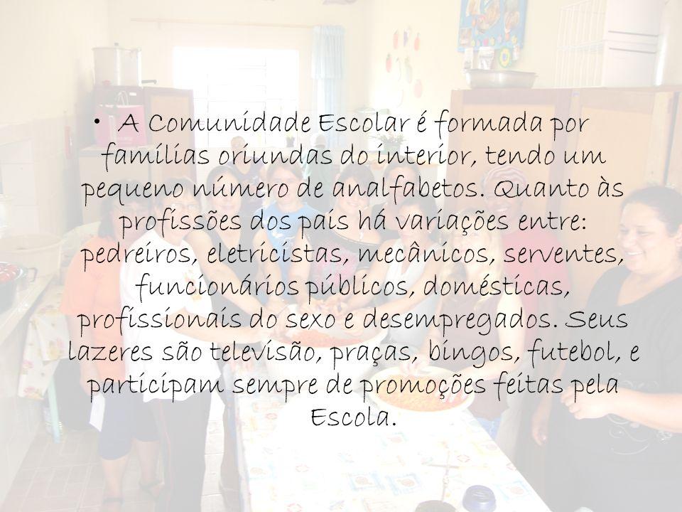 A Comunidade Escolar é formada por famílias oriundas do interior, tendo um pequeno número de analfabetos. Quanto às profissões dos pais há variações e