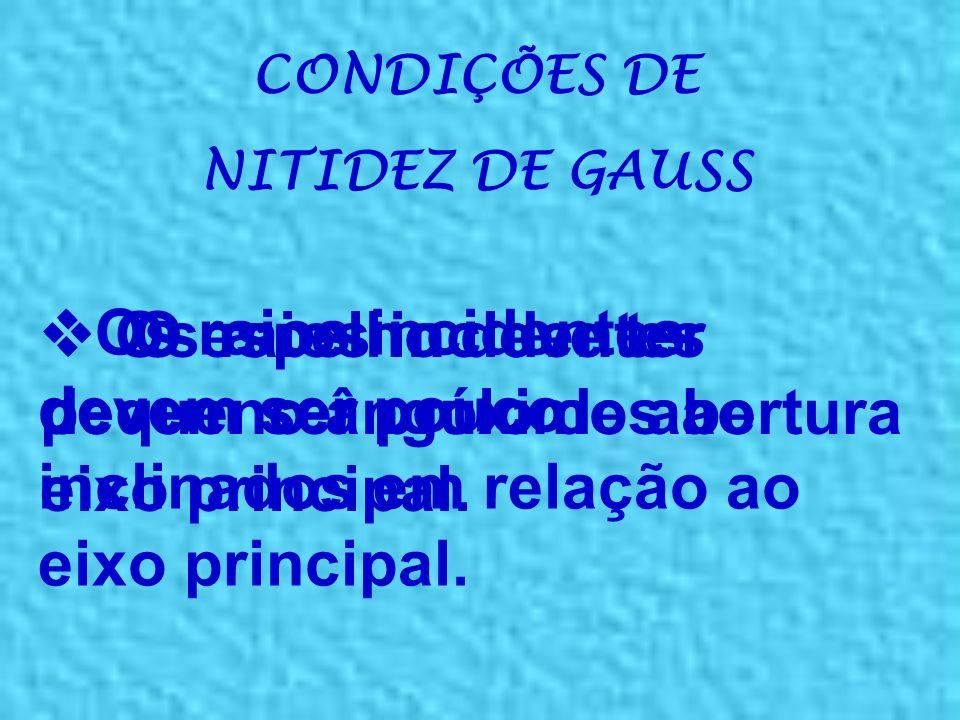 PRINCIPAIS ELEMENTOS DE UM ESPELHO ESFÉRICO R: raio de curvatura (distância do vértice até o centro de curvatura) f: distância focal (f = R/2)