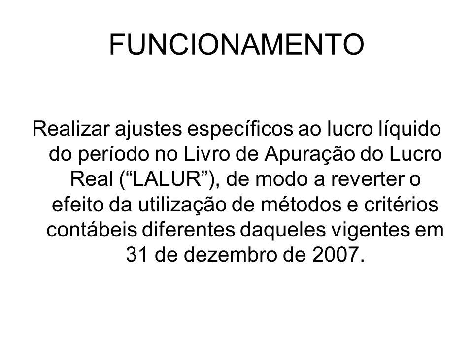 FUNCIONAMENTO Realizar ajustes específicos ao lucro líquido do período no Livro de Apuração do Lucro Real (LALUR), de modo a reverter o efeito da util