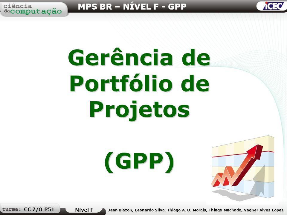 Gerência de Portfólio de Projetos (GPP) MPS BR – NÍVEL F - GPP Nível F Jean Biazon, Leonardo Silva, Thiago A. O. Morais, Thiago Machado, Vagner Alves