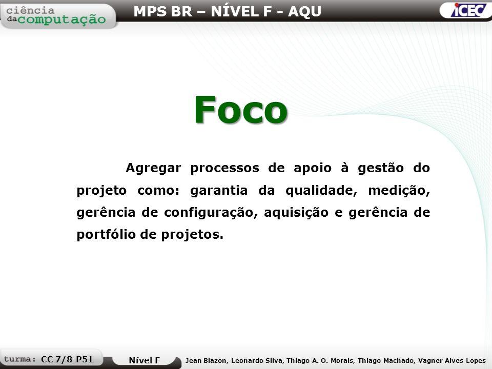 Foco MPS BR – NÍVEL F - AQU Nível F Jean Biazon, Leonardo Silva, Thiago A. O. Morais, Thiago Machado, Vagner Alves Lopes CC 7/8 P51 Agregar processos
