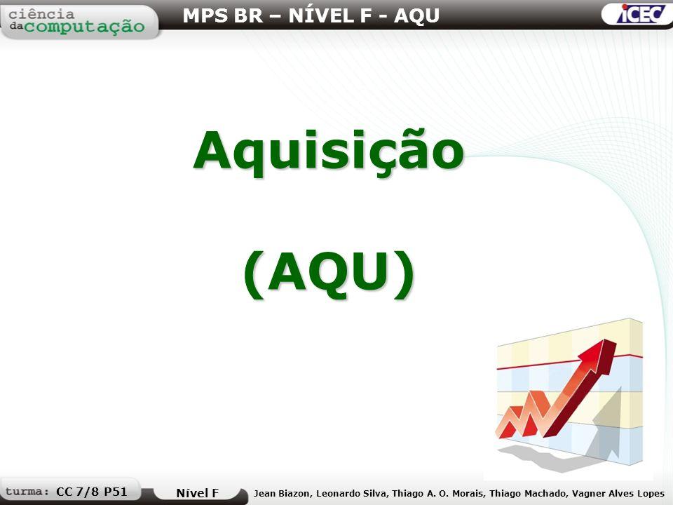 Aquisição(AQU) MPS BR – NÍVEL F - AQU Nível F Jean Biazon, Leonardo Silva, Thiago A. O. Morais, Thiago Machado, Vagner Alves Lopes CC 7/8 P51