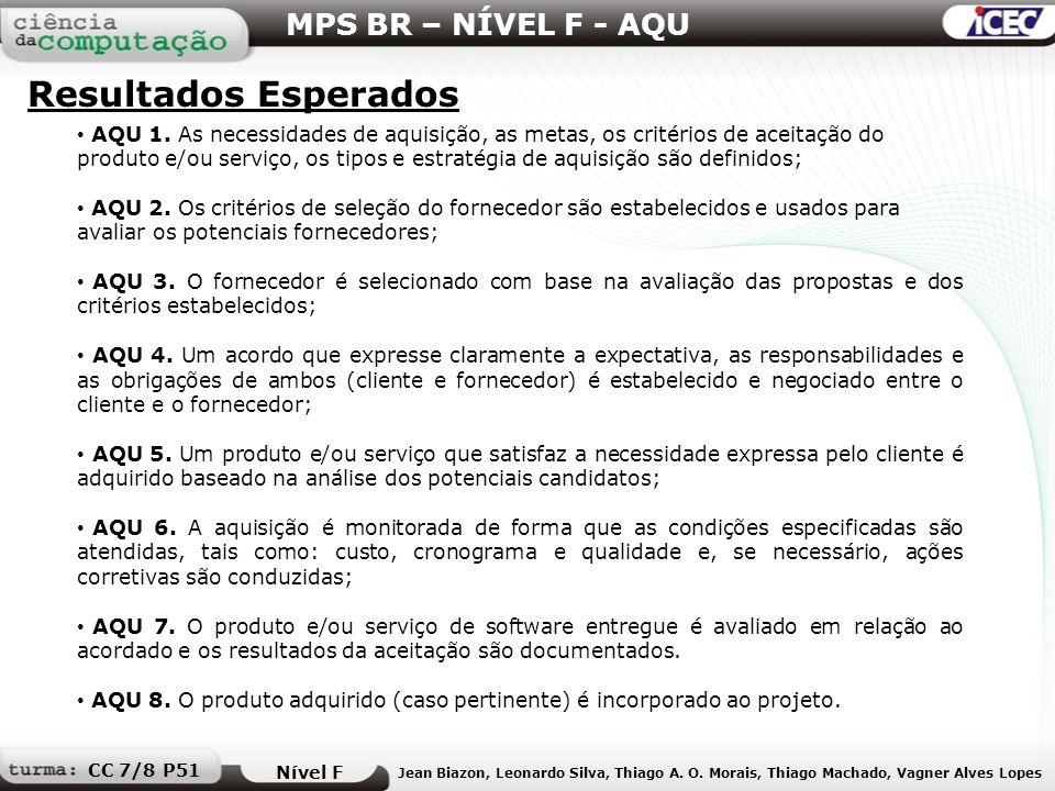 AQU 1. As necessidades de aquisição, as metas, os critérios de aceitação do produto e/ou serviço, os tipos e estratégia de aquisição são definidos; AQ