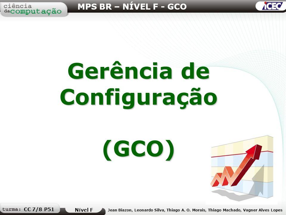 Gerência de Configuração (GCO) MPS BR – NÍVEL F - GCO Nível F Jean Biazon, Leonardo Silva, Thiago A. O. Morais, Thiago Machado, Vagner Alves Lopes CC