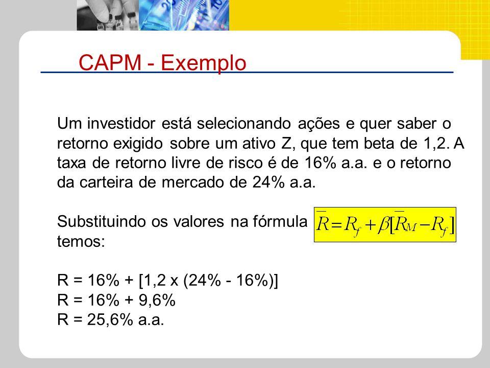 CAPM - Exemplo Um investidor está selecionando ações e quer saber o retorno exigido sobre um ativo Z, que tem beta de 1,2. A taxa de retorno livre de