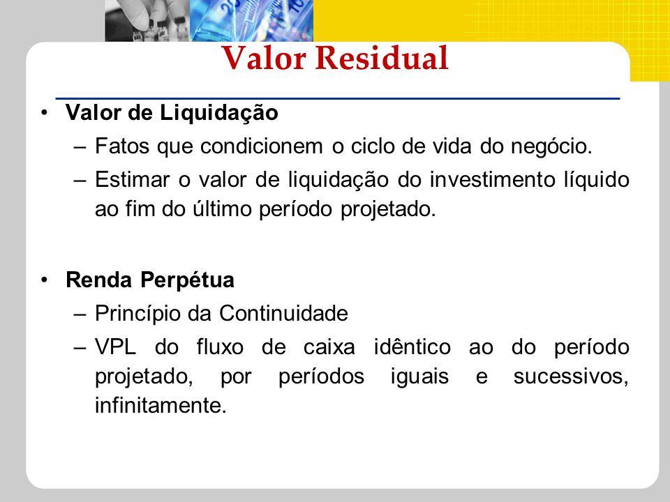 Valor Residual Valor de Liquidação –Fatos que condicionem o ciclo de vida do negócio. –Estimar o valor de liquidação do investimento líquido ao fim do