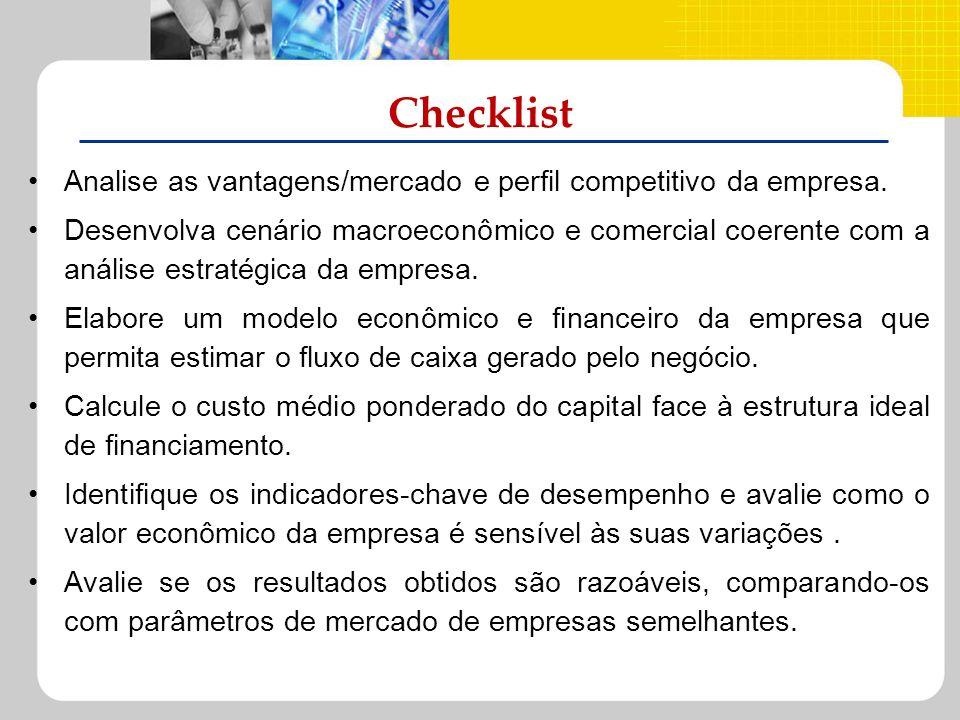 Checklist Analise as vantagens/mercado e perfil competitivo da empresa. Desenvolva cenário macroeconômico e comercial coerente com a análise estratégi