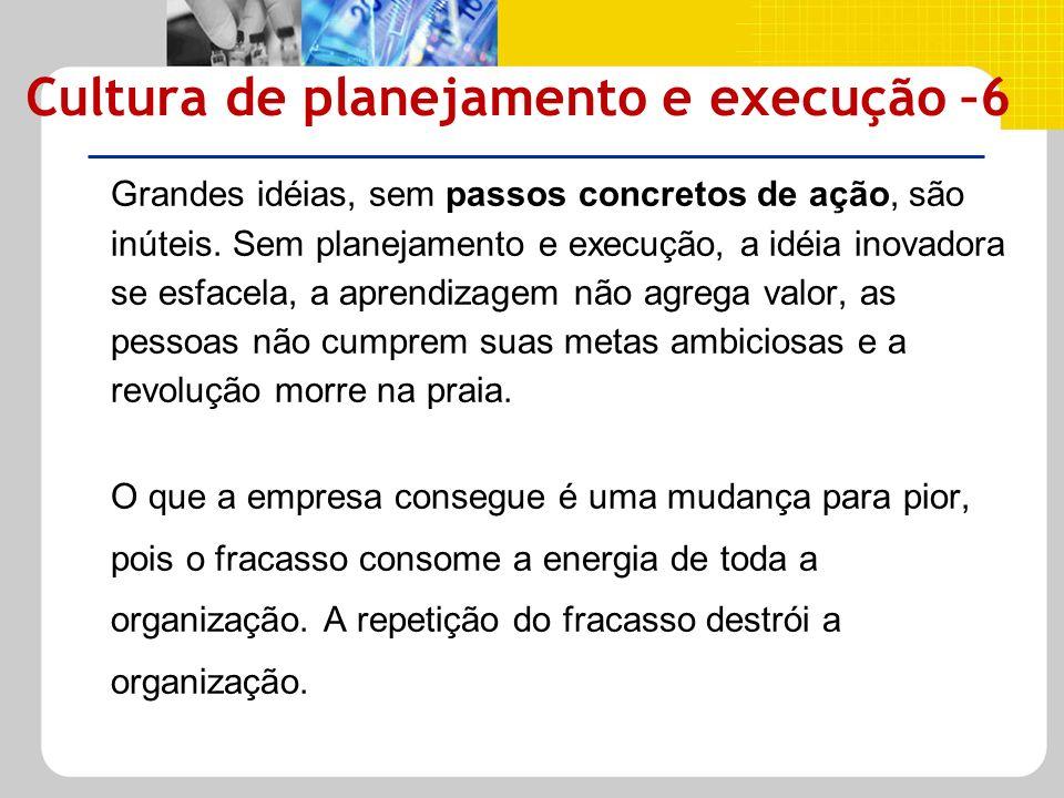 Grandes idéias, sem passos concretos de ação, são inúteis. Sem planejamento e execução, a idéia inovadora se esfacela, a aprendizagem não agrega valor