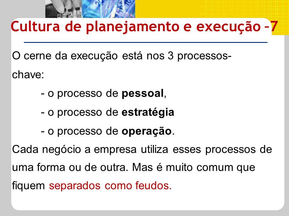O cerne da execução está nos 3 processos- chave: - o processo de pessoal, - o processo de estratégia - o processo de operação. Cada negócio a empresa