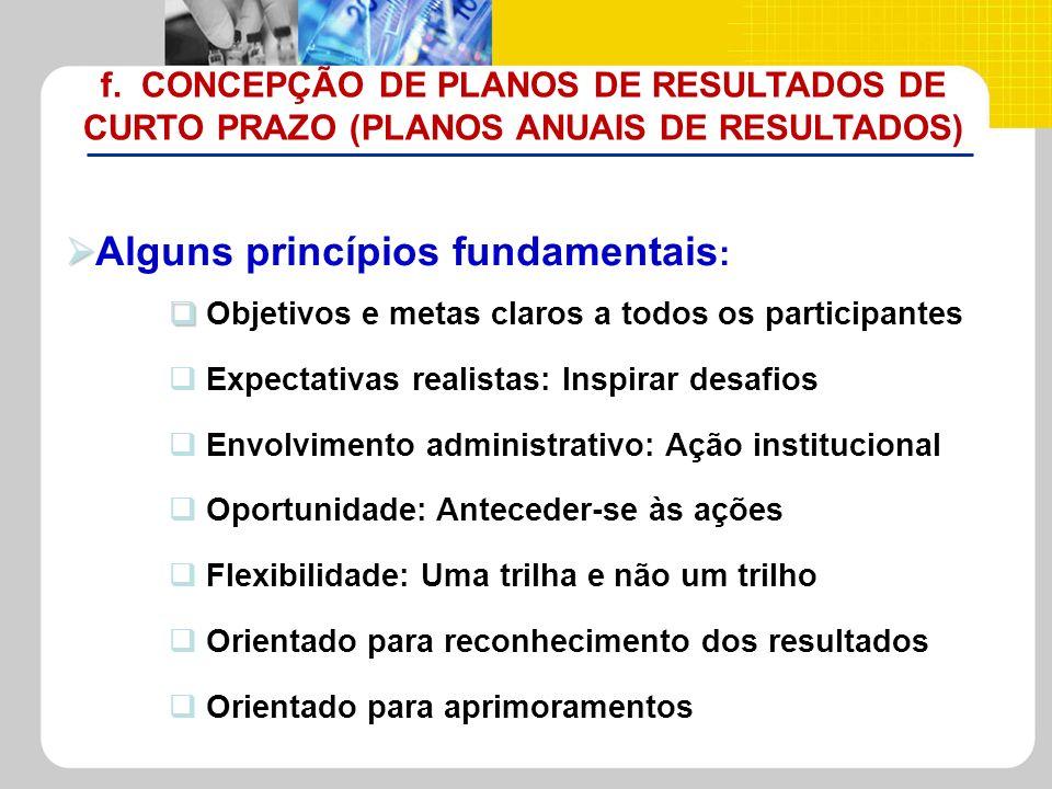 Alguns princípios fundamentais : Objetivos e metas claros a todos os participantes Expectativas realistas: Inspirar desafios Envolvimento administrati