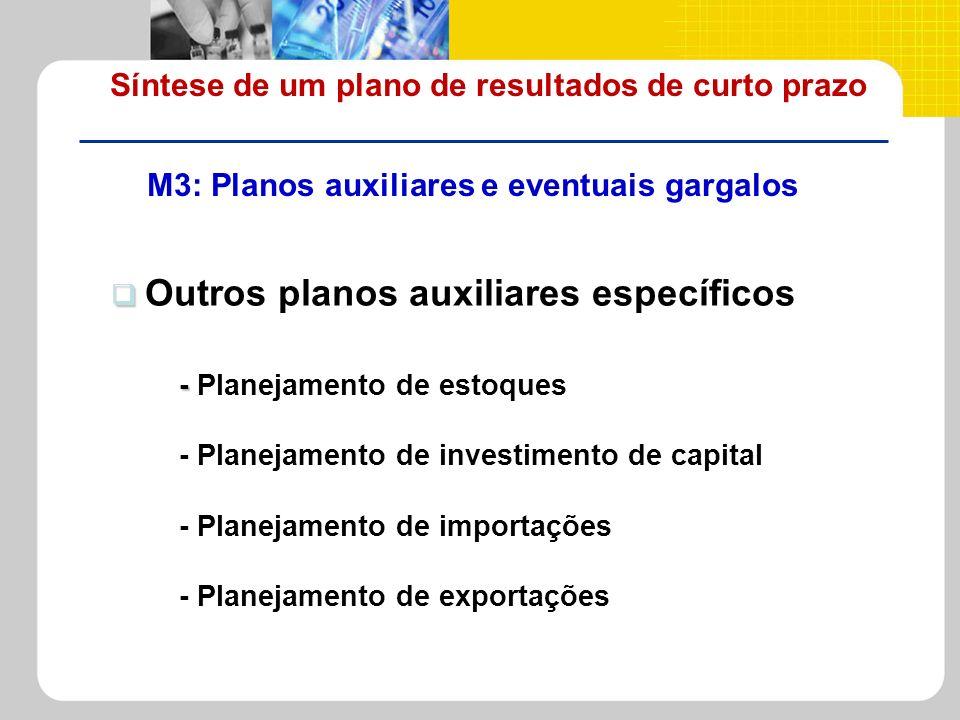 Síntese de um plano de resultados de curto prazo M3: Planos auxiliares e eventuais gargalos - - Planejamento de estoques - Planejamento de investiment