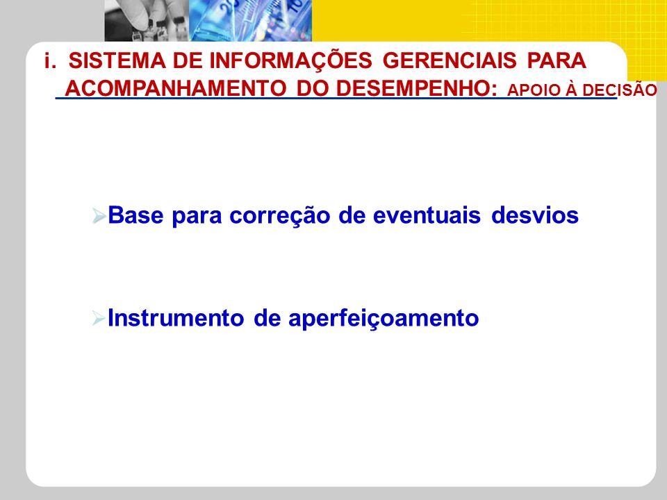 i. SISTEMA DE INFORMAÇÕES GERENCIAIS PARA ACOMPANHAMENTO DO DESEMPENHO: APOIO À DECISÃO Base para correção de eventuais desvios Instrumento de aperfei