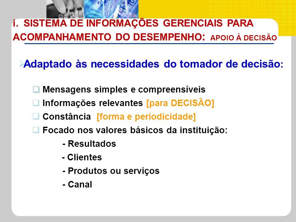 Adaptado às necessidades do tomador de decisão : Mensagens simples e compreensíveis Informações relevantes [para DECISÃO] Constância [forma e periodic