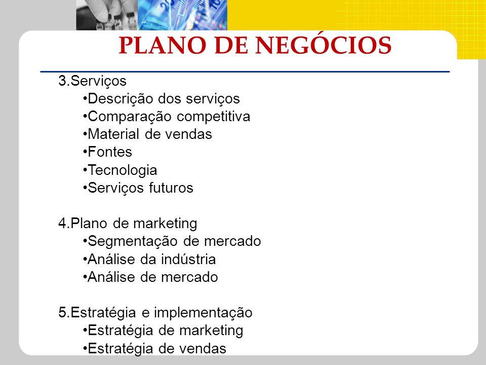 PLANO DE NEGÓCIOS 3.Serviços Descrição dos serviços Comparação competitiva Material de vendas Fontes Tecnologia Serviços futuros 4.Plano de marketing