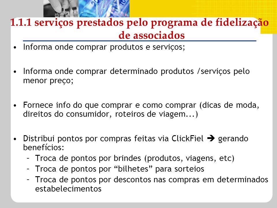 1.1.1 serviços prestados pelo programa de fidelização de associados Informa onde comprar produtos e serviços; Informa onde comprar determinado produto