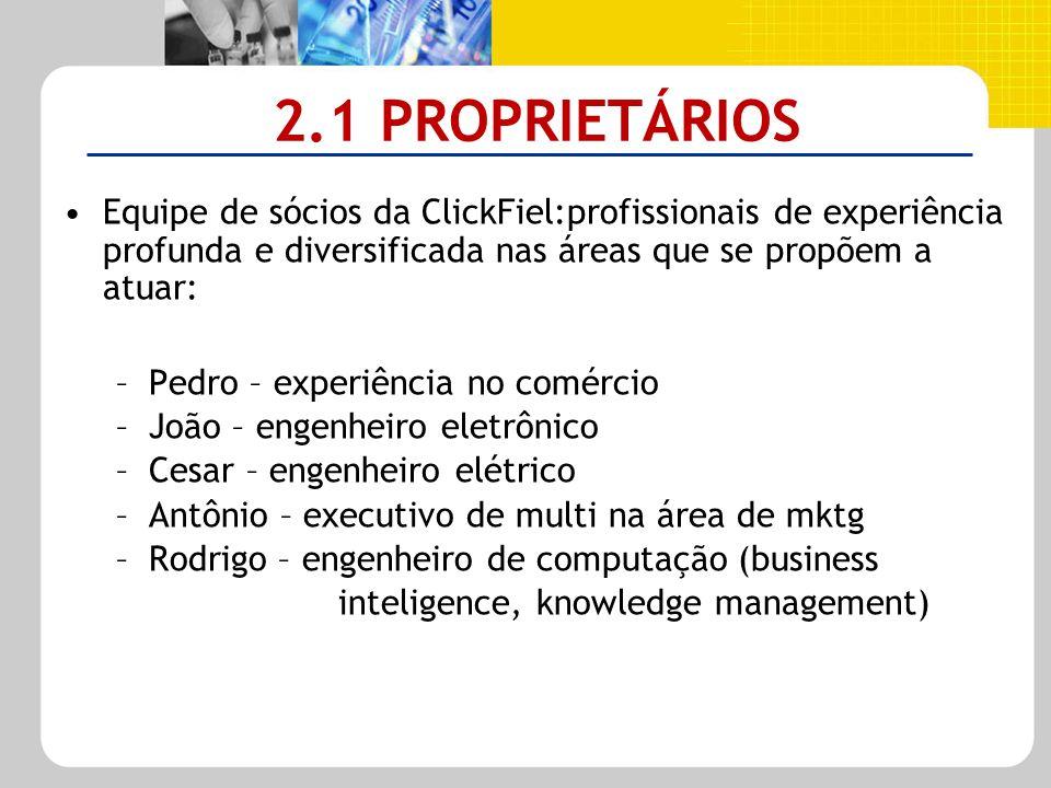 2.1 PROPRIETÁRIOS Equipe de sócios da ClickFiel:profissionais de experiência profunda e diversificada nas áreas que se propõem a atuar: –Pedro – exper