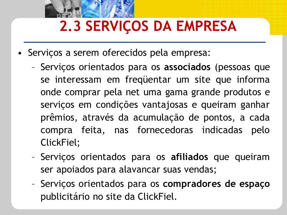 2.3 SERVIÇOS DA EMPRESA Serviços a serem oferecidos pela empresa: –Serviços orientados para os associados (pessoas que se interessam em freqüentar um