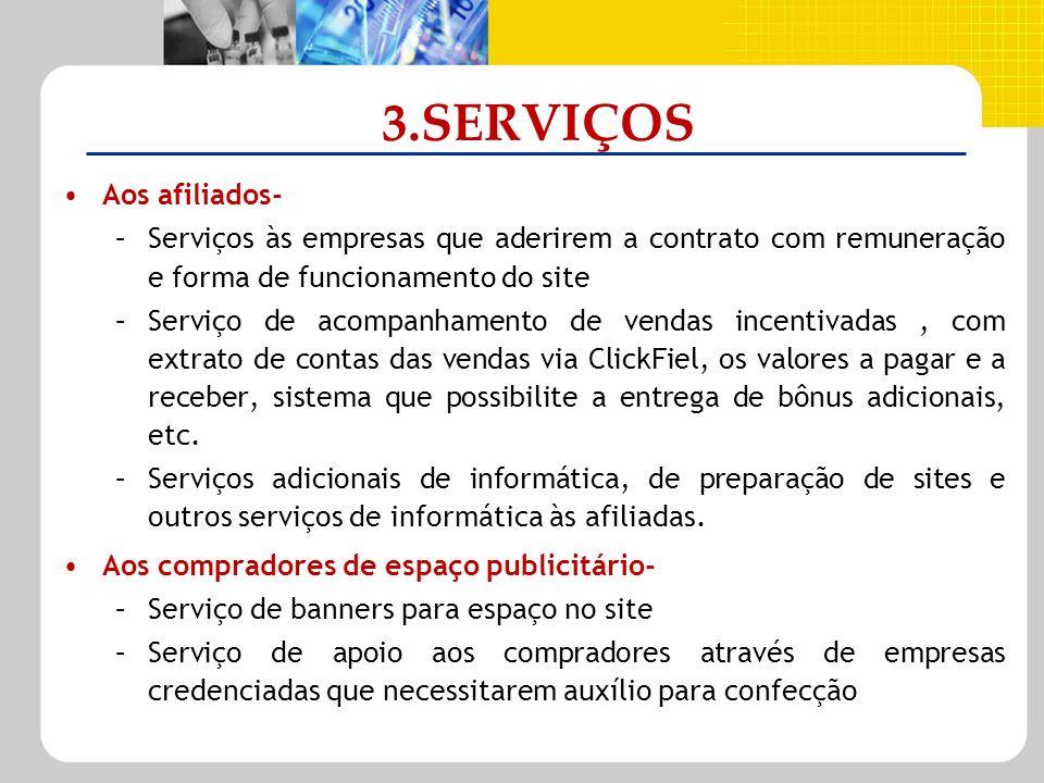 3.SERVIÇOS Aos afiliados- –Serviços às empresas que aderirem a contrato com remuneração e forma de funcionamento do site –Serviço de acompanhamento de