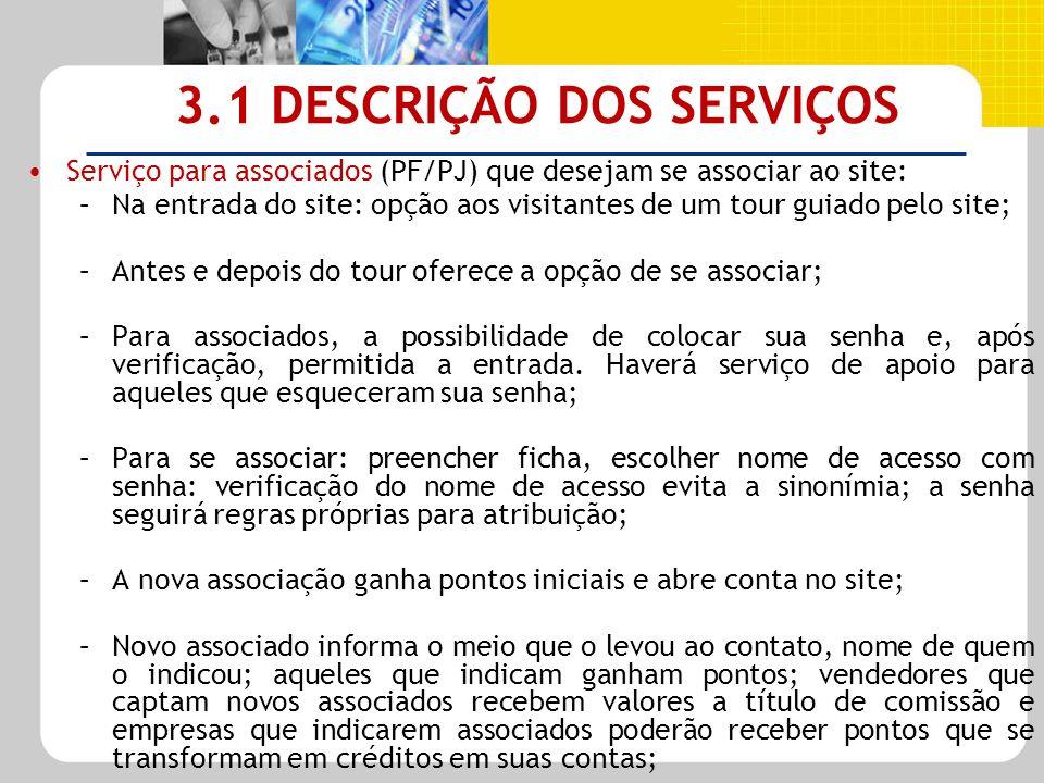 3.1 DESCRIÇÃO DOS SERVIÇOS Serviço para associados (PF/PJ) que desejam se associar ao site: –Na entrada do site: opção aos visitantes de um tour guiad