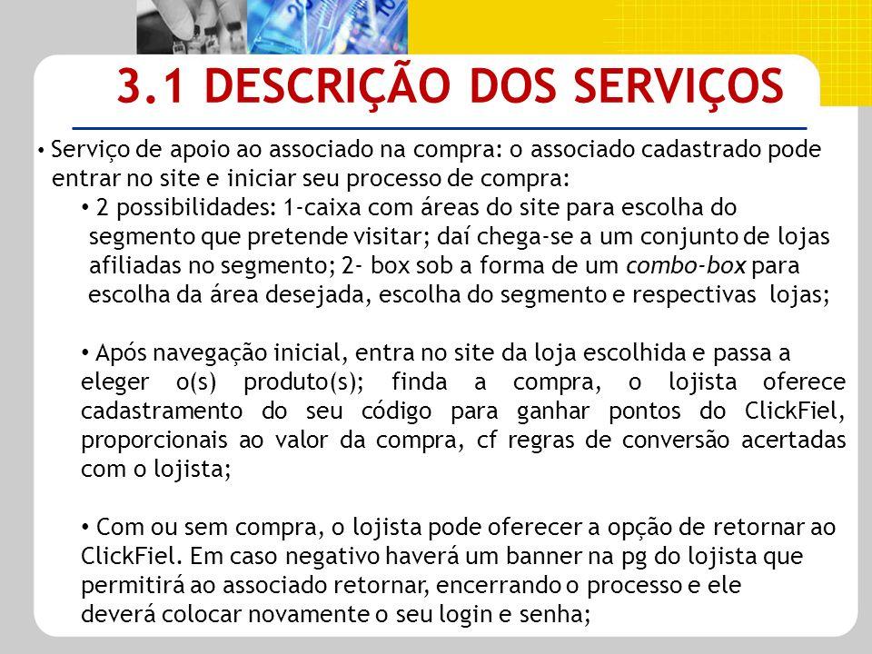 3.1 DESCRIÇÃO DOS SERVIÇOS Serviço de apoio ao associado na compra: o associado cadastrado pode entrar no site e iniciar seu processo de compra: 2 pos