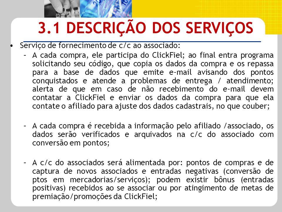 Serviço de fornecimento de c/c ao associado: –A cada compra, ele participa do ClickFiel; ao final entra programa solicitando seu código, que copia os