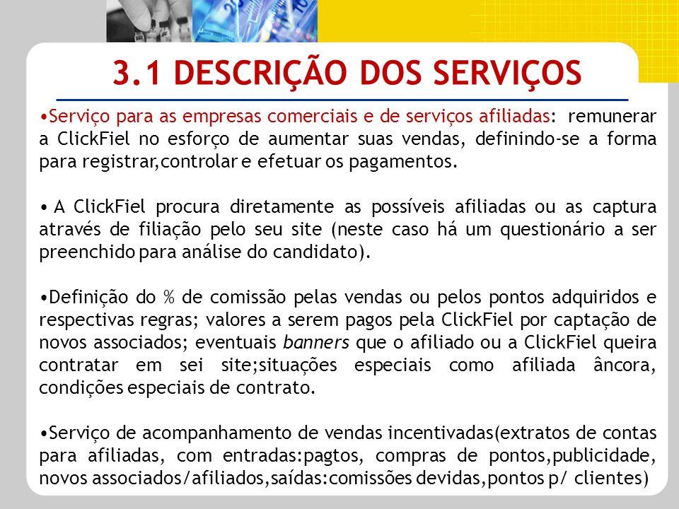 3.1 DESCRIÇÃO DOS SERVIÇOS Serviço para as empresas comerciais e de serviços afiliadas: remunerar a ClickFiel no esforço de aumentar suas vendas, defi