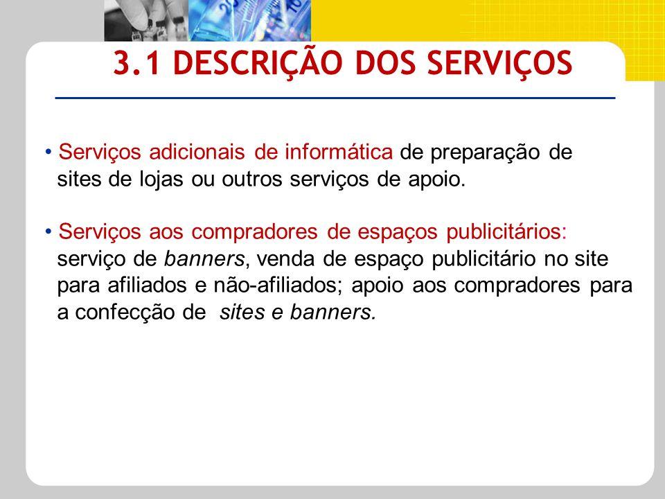 3.1 DESCRIÇÃO DOS SERVIÇOS Serviços adicionais de informática de preparação de sites de lojas ou outros serviços de apoio. Serviços aos compradores de