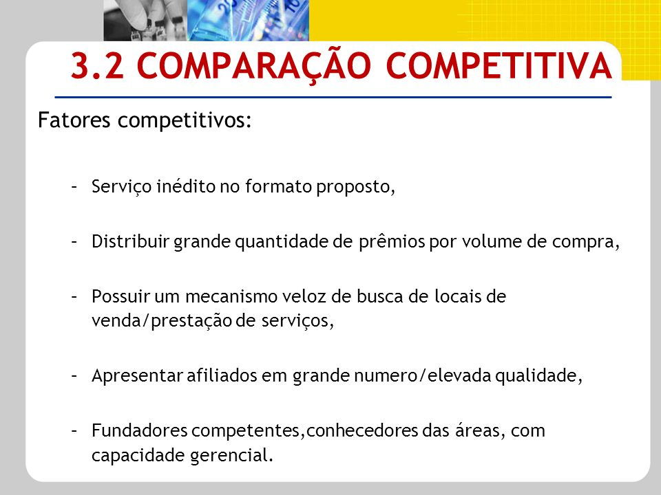 3.2 COMPARAÇÃO COMPETITIVA Fatores competitivos: –Serviço inédito no formato proposto, –Distribuir grande quantidade de prêmios por volume de compra,