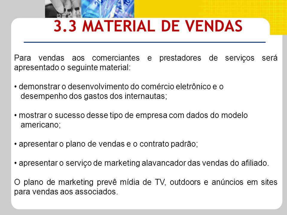3.3 MATERIAL DE VENDAS Para vendas aos comerciantes e prestadores de serviços será apresentado o seguinte material: demonstrar o desenvolvimento do co