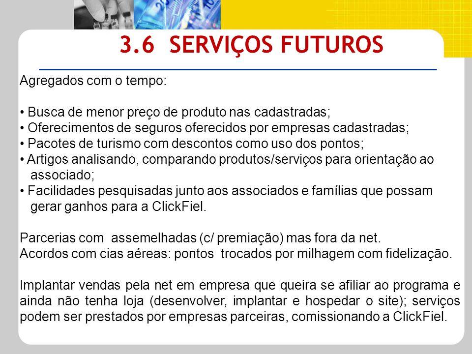3.6 SERVIÇOS FUTUROS Agregados com o tempo: Busca de menor preço de produto nas cadastradas; Oferecimentos de seguros oferecidos por empresas cadastra