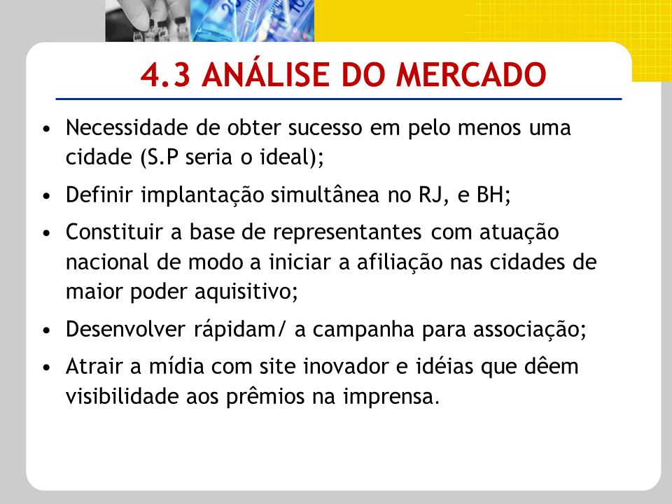 4.3 ANÁLISE DO MERCADO Necessidade de obter sucesso em pelo menos uma cidade (S.P seria o ideal); Definir implantação simultânea no RJ, e BH; Constitu