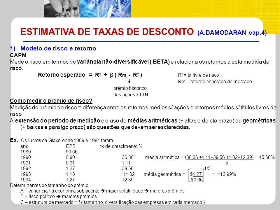 ESTIMATIVA DE TAXAS DE DESCONTO (A.DAMODARAN cap.4) 1)Modelo de risco e retorno CAPM Mede o risco em termos de variância não-diversificável ( BETA) e