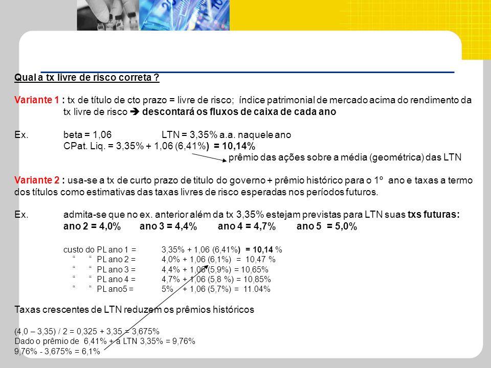 Qual a tx livre de risco correta ? Variante 1 : tx de título de cto prazo = livre de risco; índice patrimonial de mercado acima do rendimento da tx li