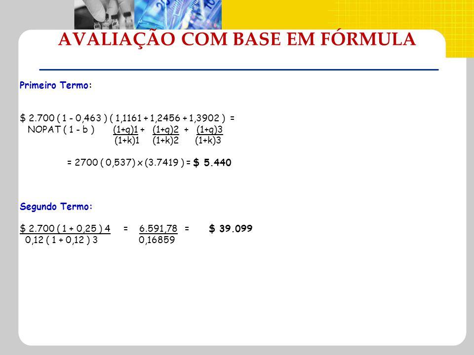 AVALIAÇÃO COM BASE EM FÓRMULA Primeiro Termo: $ 2.700 ( 1 - 0,463 ) ( 1,1161 + 1,2456 + 1,3902 ) = NOPAT ( 1 - b ) (1+g)1 + (1+g)2 + (1+g)3 (1+k)1 (1+