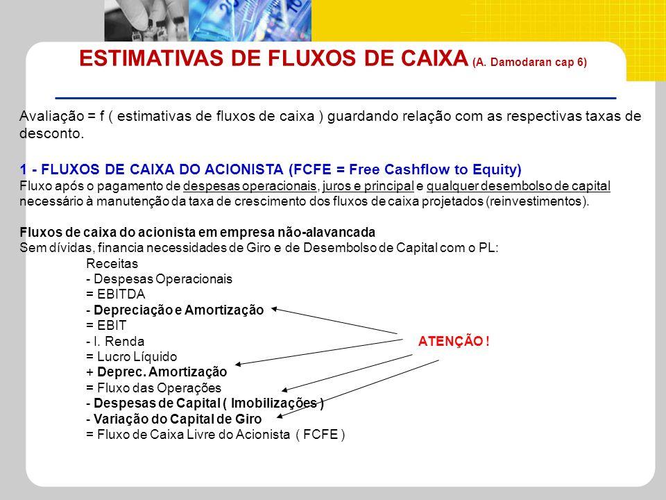 ESTIMATIVAS DE FLUXOS DE CAIXA (A. Damodaran cap 6) Avaliação = f ( estimativas de fluxos de caixa ) guardando relação com as respectivas taxas de des