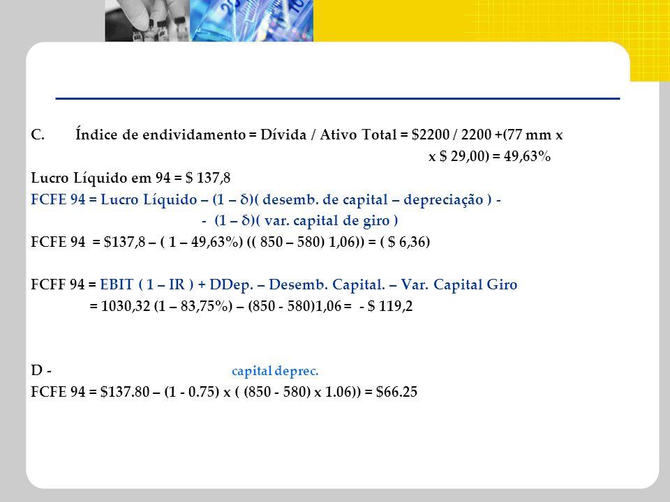 C. Índice de endividamento = Dívida / Ativo Total = $2200 / 2200 +(77 mm x x $ 29,00) = 49,63% Lucro Líquido em 94 = $ 137,8 FCFE 94 = Lucro Líquido –