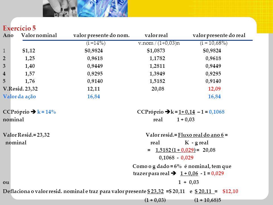 Exercício 5 Ano Valor nominal valor presente do nom. valor real valor presente do real (i =14%) v.nom / (1+0,03)n (i = 10,68%) 1 $1,12$0,9824 $1,0873