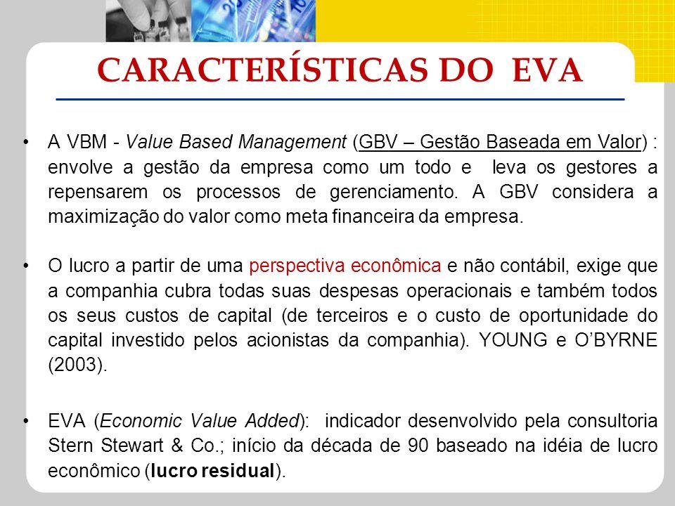 CARACTERÍSTICAS DO EVA A VBM - Value Based Management (GBV – Gestão Baseada em Valor) : envolve a gestão da empresa como um todo e leva os gestores a